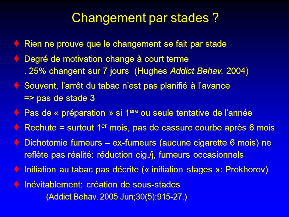 Changement par stades Rien ne prouve que le changement se fait par stade.