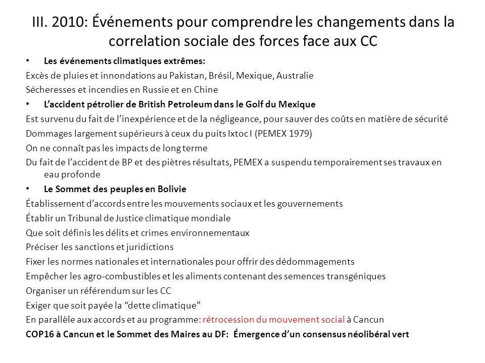 III. 2010: Événements pour comprendre les changements dans la correlation sociale des forces face aux CC