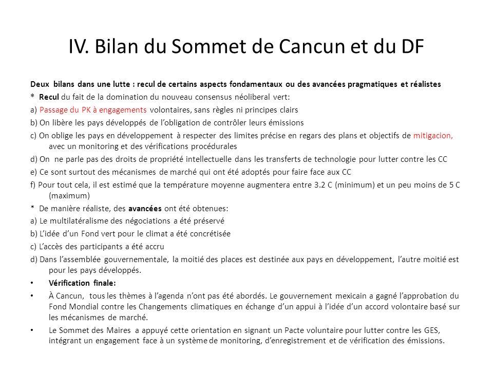 IV. Bilan du Sommet de Cancun et du DF
