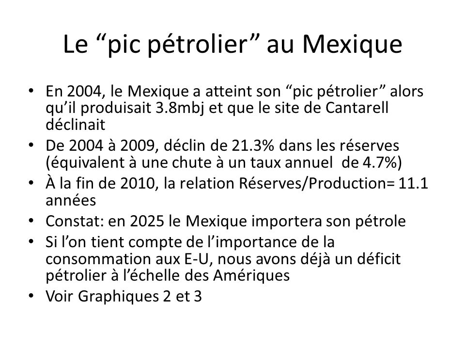 Le pic pétrolier au Mexique