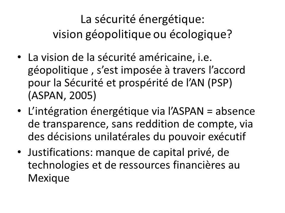 La sécurité énergétique: vision géopolitique ou écologique