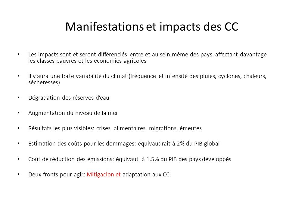Manifestations et impacts des CC