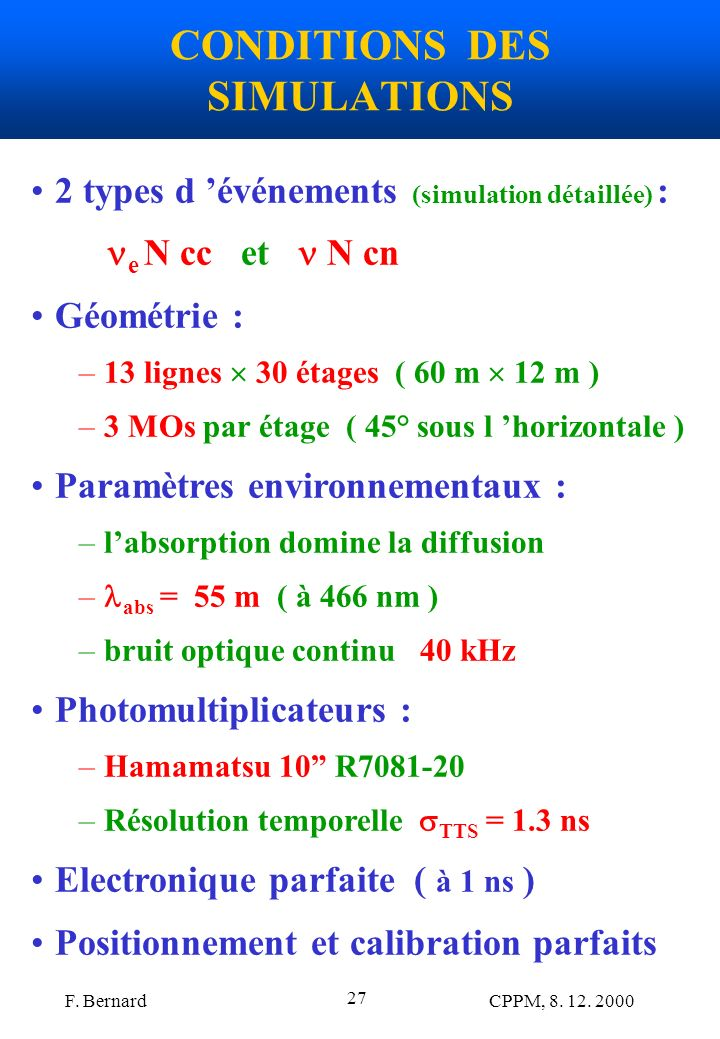 CONDITIONS DES SIMULATIONS