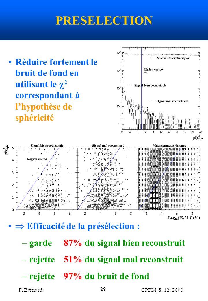 PRESELECTION Réduire fortement le bruit de fond en utilisant le 2 correspondant à l'hypothèse de sphéricité.