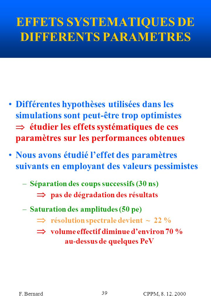 EFFETS SYSTEMATIQUES DE DIFFERENTS PARAMETRES