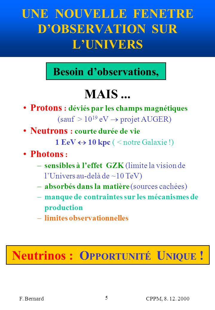 UNE NOUVELLE FENETRE D'OBSERVATION SUR L'UNIVERS