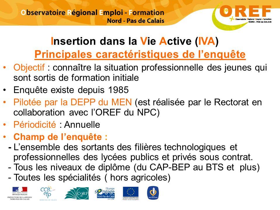 Insertion dans la Vie Active (IVA) Principales caractéristiques de l'enquête