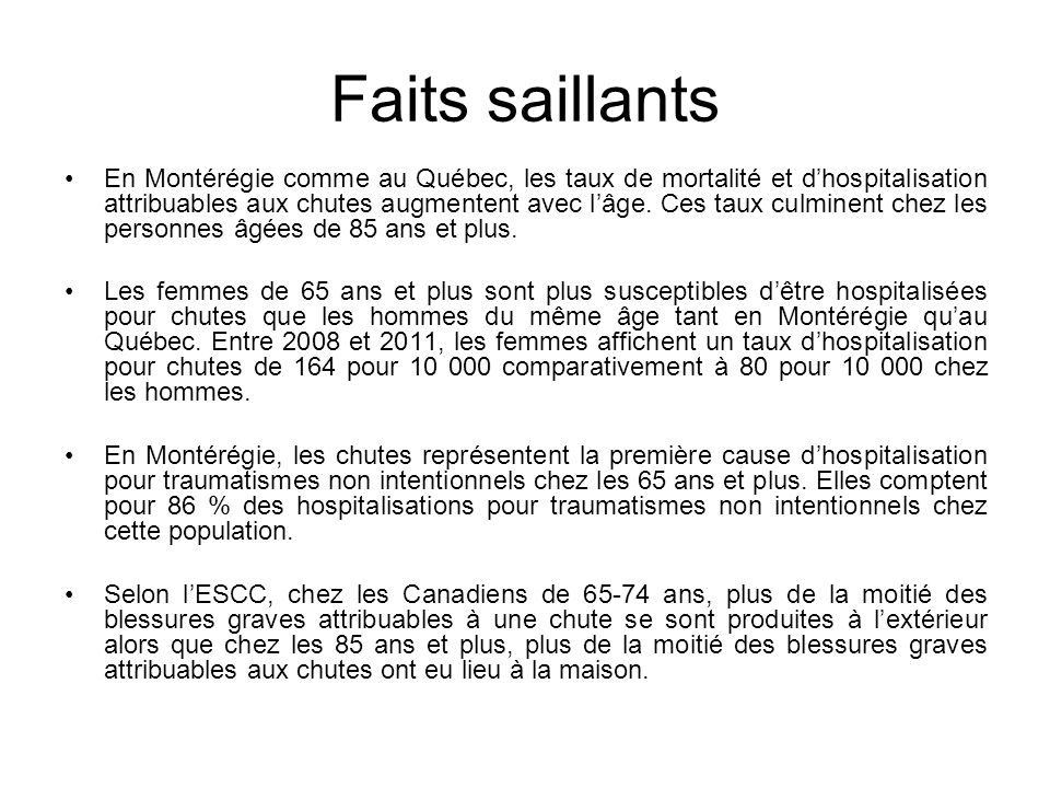 Faits saillants