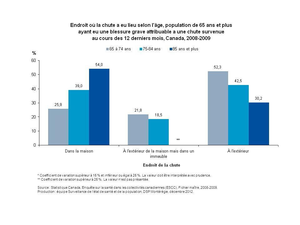 La répartition des blessures graves¹ attribuables à une chute selon le lieu de la chute varie grandement en fonction du groupe d'âge.