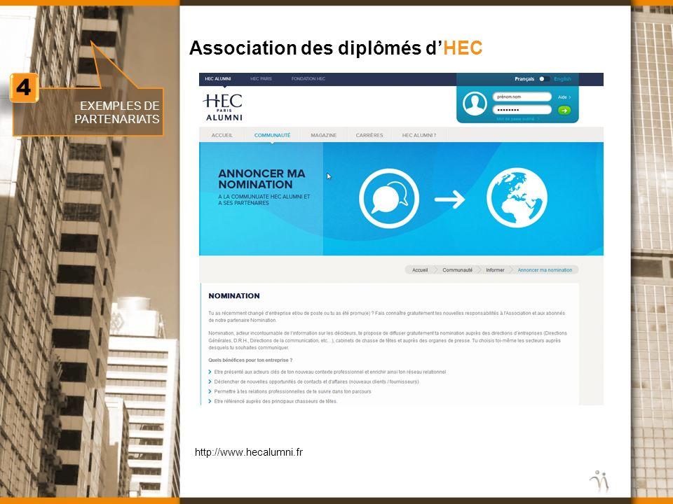 4 Association des diplômés d'HEC EXEMPLES DE PARTENARIATS