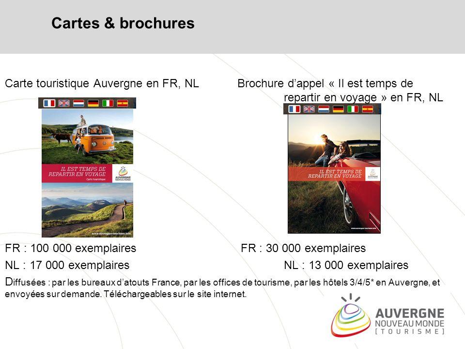 Cartes & brochures Carte touristique Auvergne en FR, NL Brochure d'appel « Il est temps de repartir en voyage » en FR, NL.