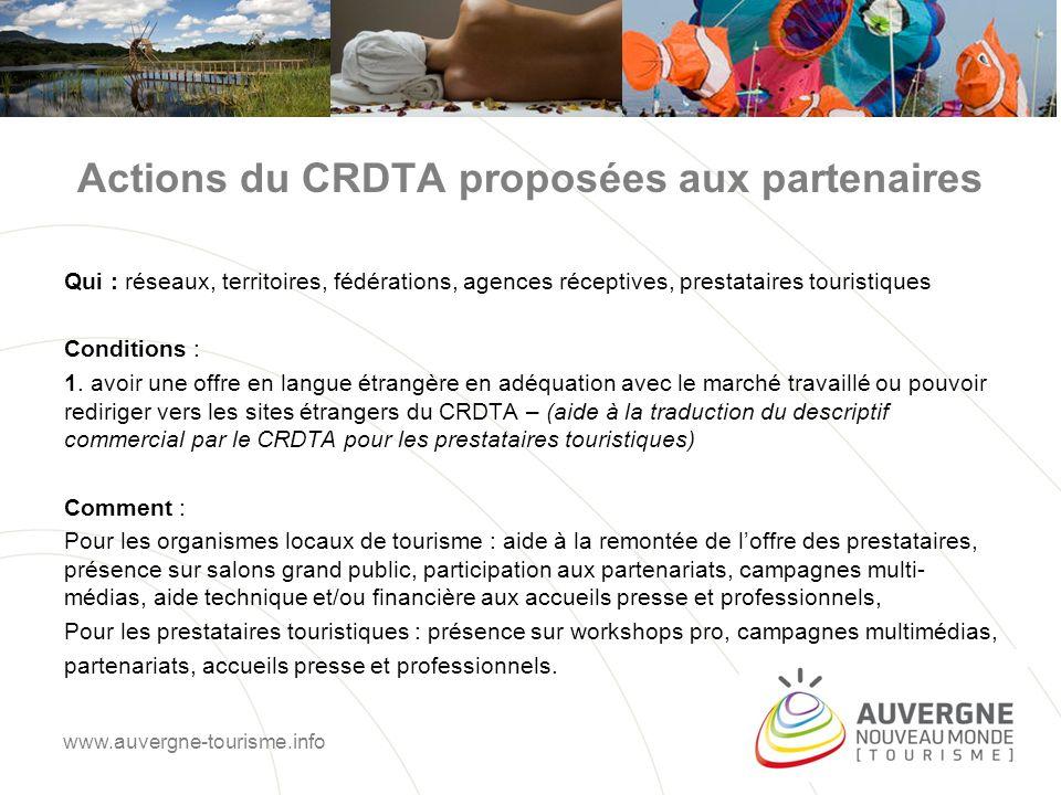 Actions du CRDTA proposées aux partenaires