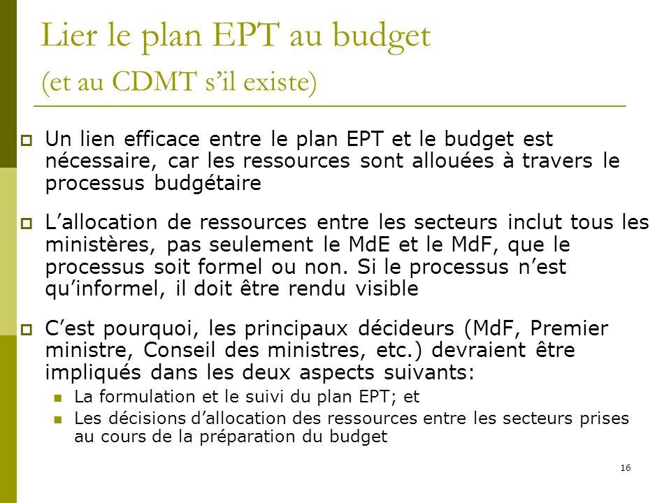 Lier le plan EPT au budget (et au CDMT s'il existe)