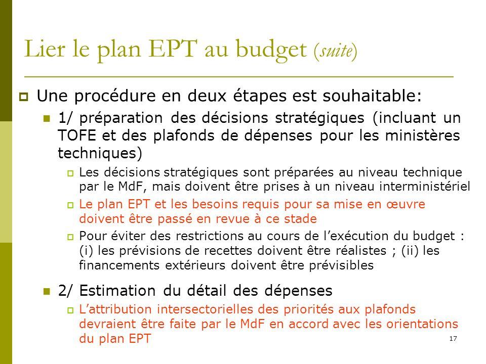 Lier le plan EPT au budget (suite)