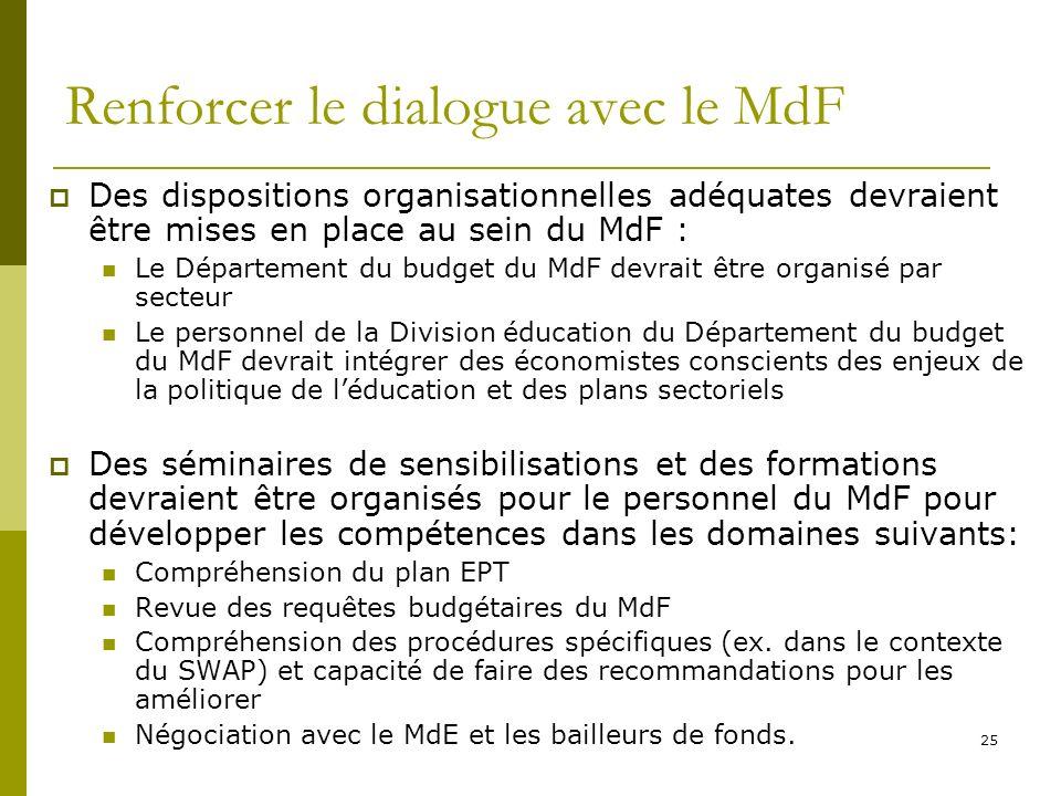 Renforcer le dialogue avec le MdF