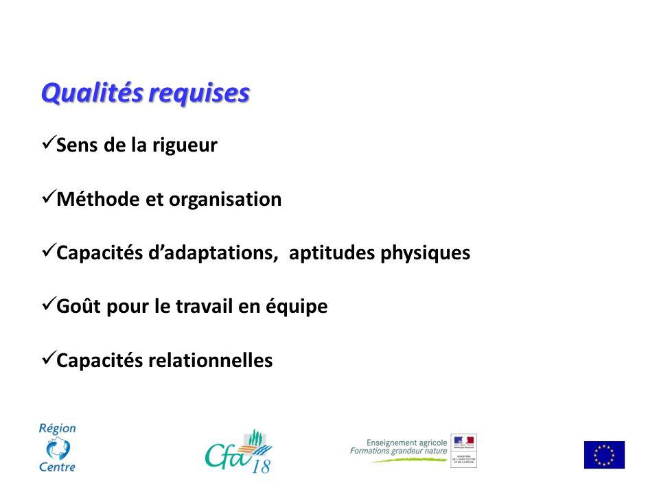Qualités requises Sens de la rigueur Méthode et organisation