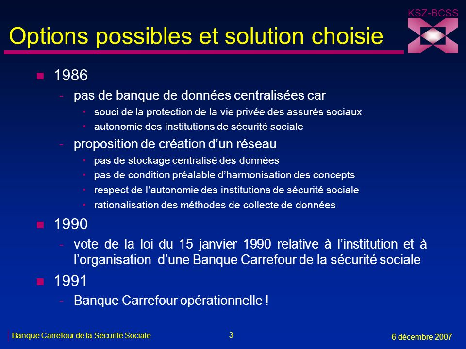 Options possibles et solution choisie