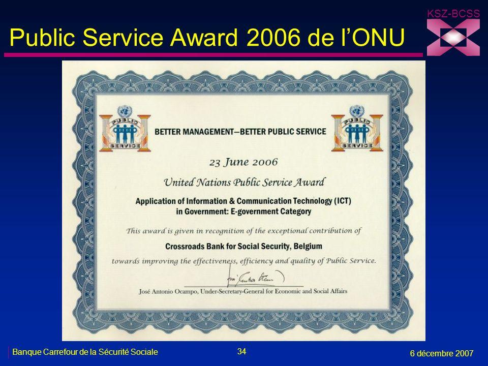 Public Service Award 2006 de l'ONU