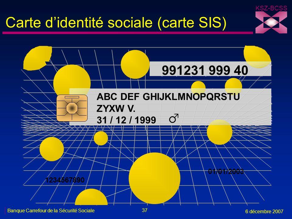 Carte d'identité sociale (carte SIS)