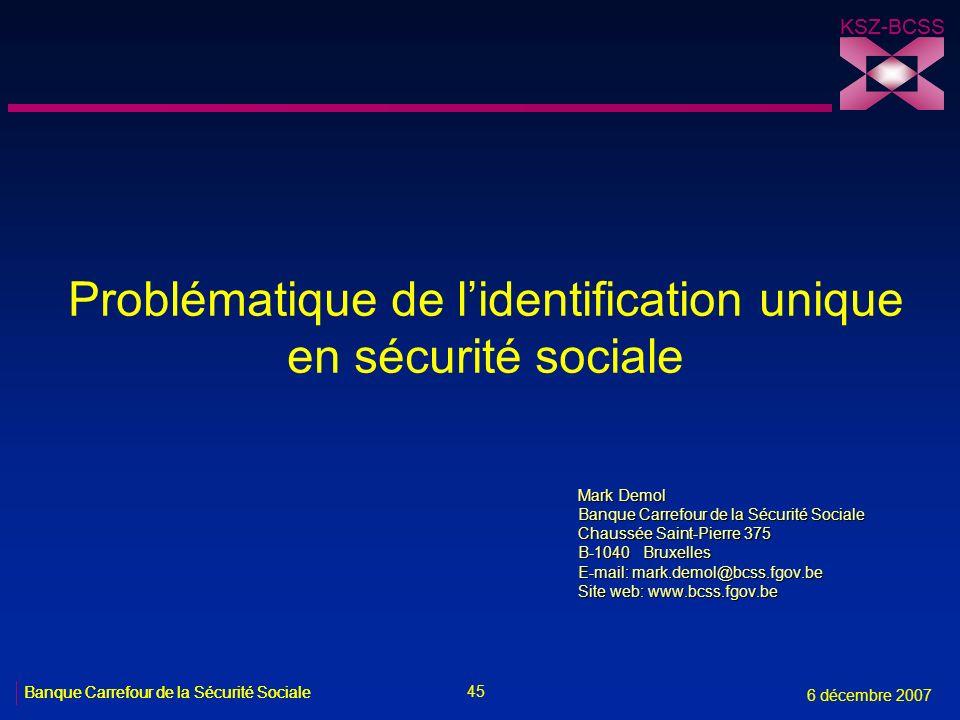 Problématique de l'identification unique en sécurité sociale
