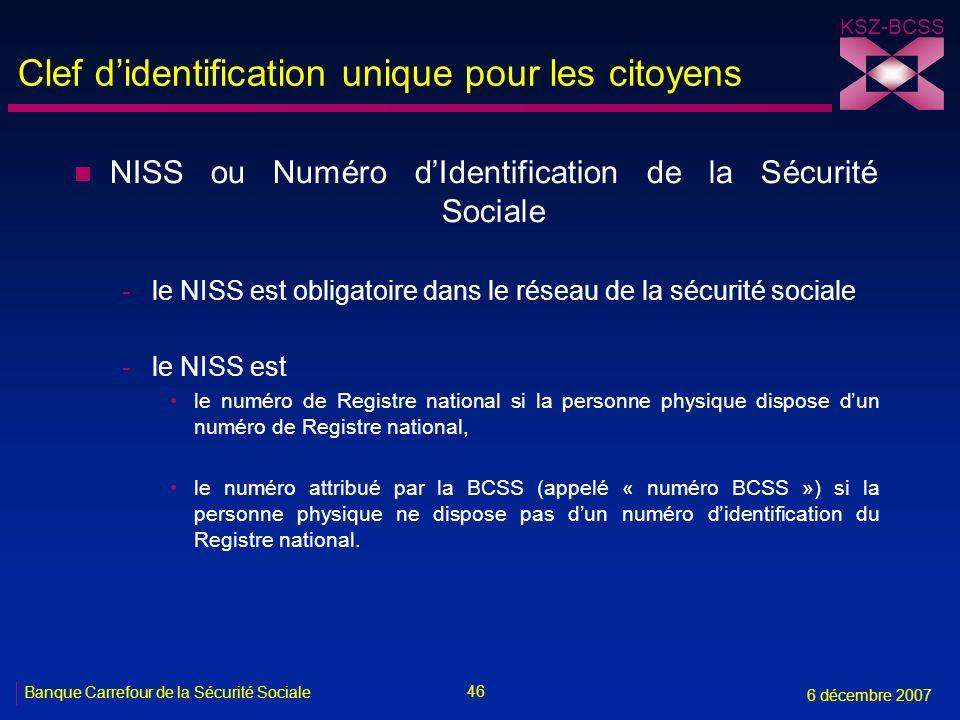 Clef d'identification unique pour les citoyens