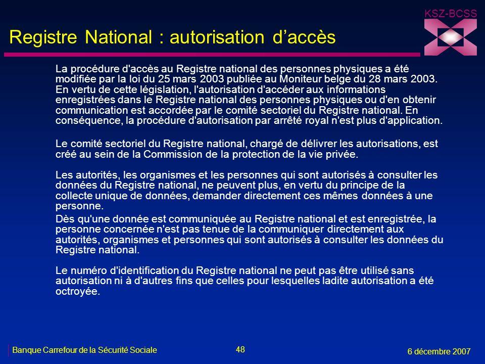 Registre National : autorisation d'accès