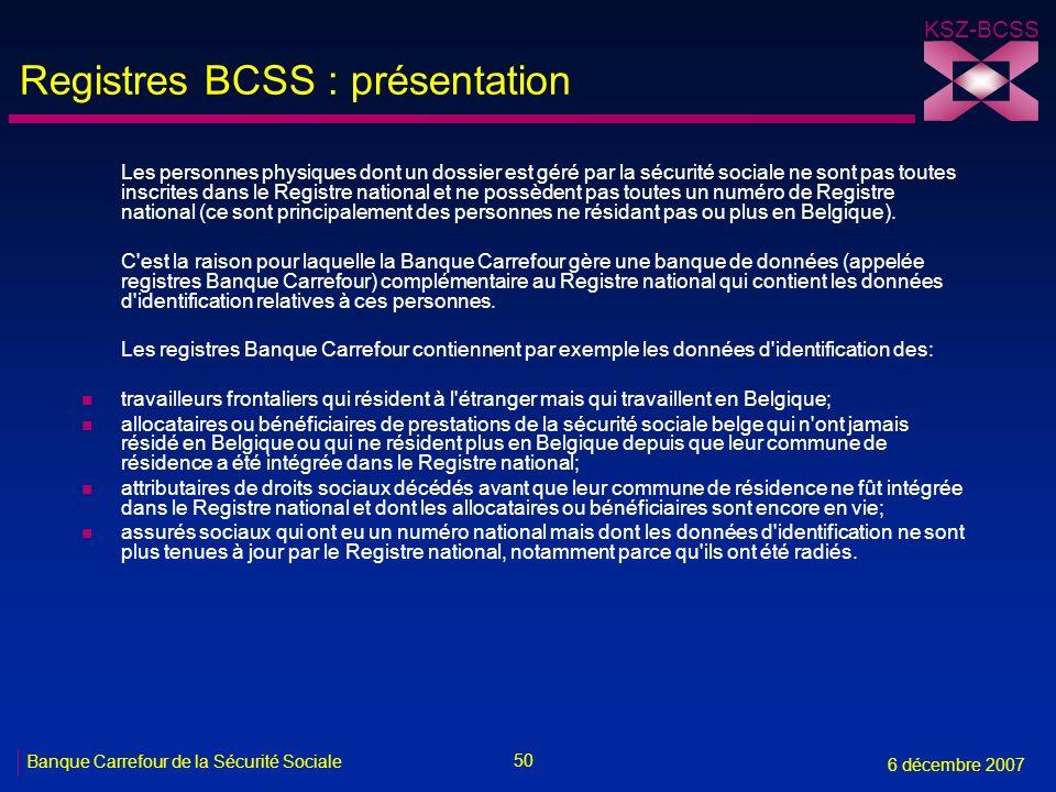 Registres BCSS : présentation