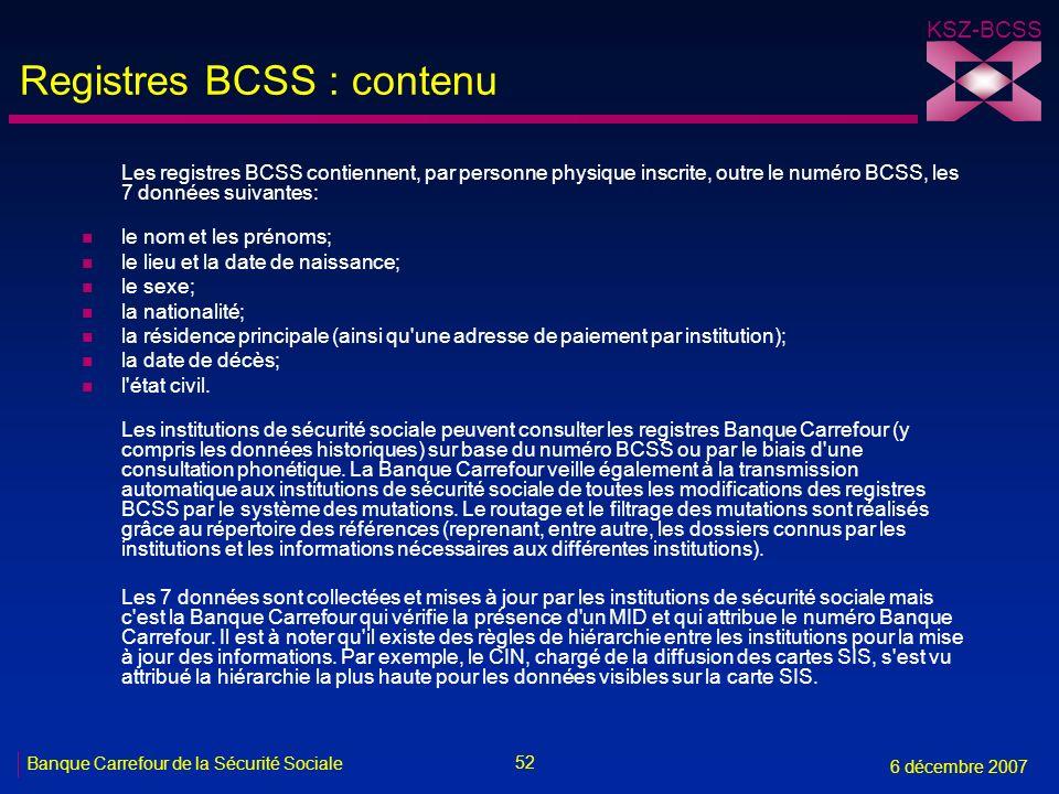 Registres BCSS : contenu
