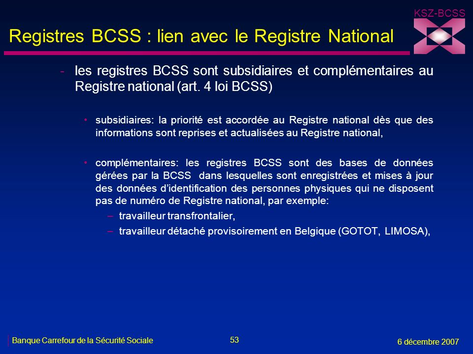 Registres BCSS : lien avec le Registre National