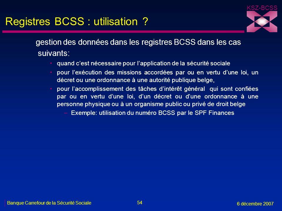 Registres BCSS : utilisation