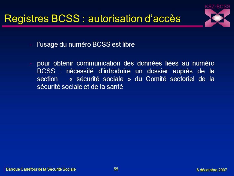 Registres BCSS : autorisation d'accès
