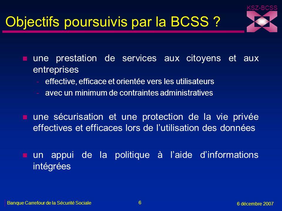 Objectifs poursuivis par la BCSS