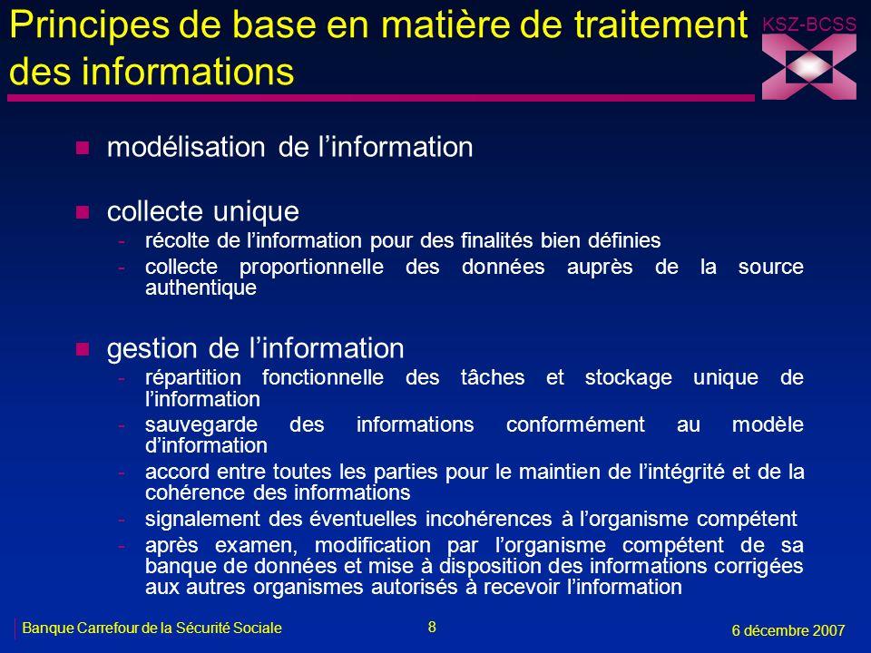 Principes de base en matière de traitement des informations