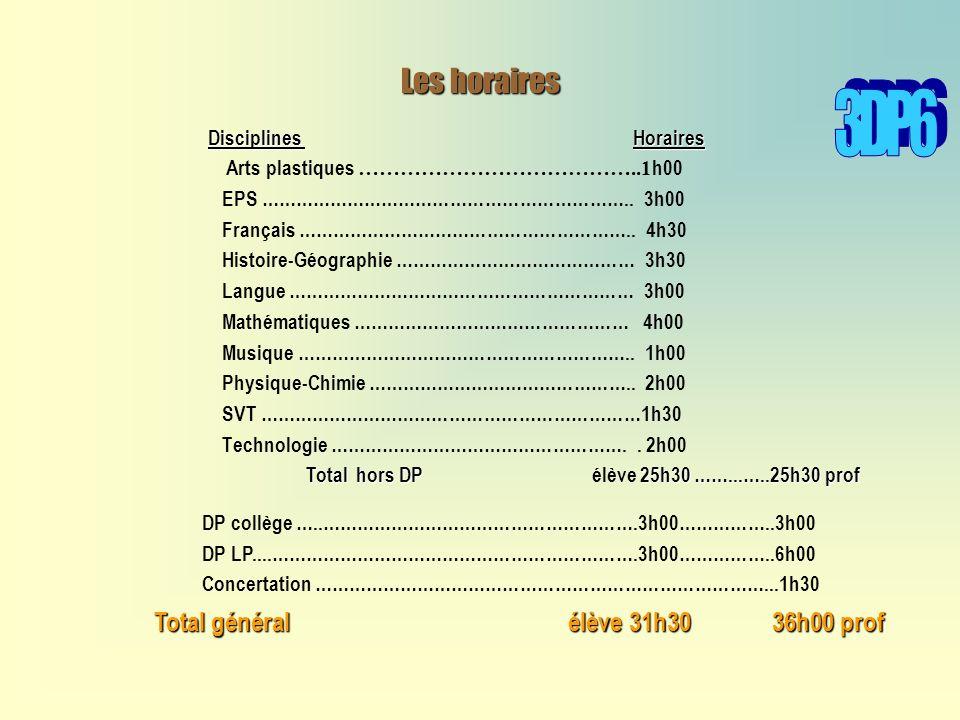 3DP6 Les horaires Total général élève 31h30 36h00 prof