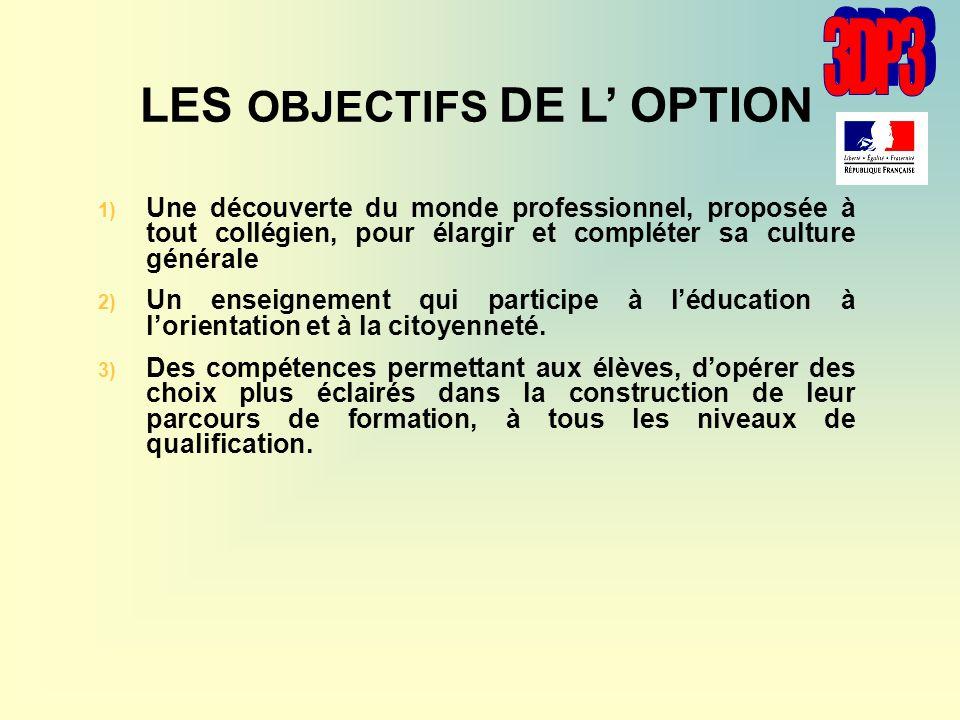 LES OBJECTIFS DE L' OPTION