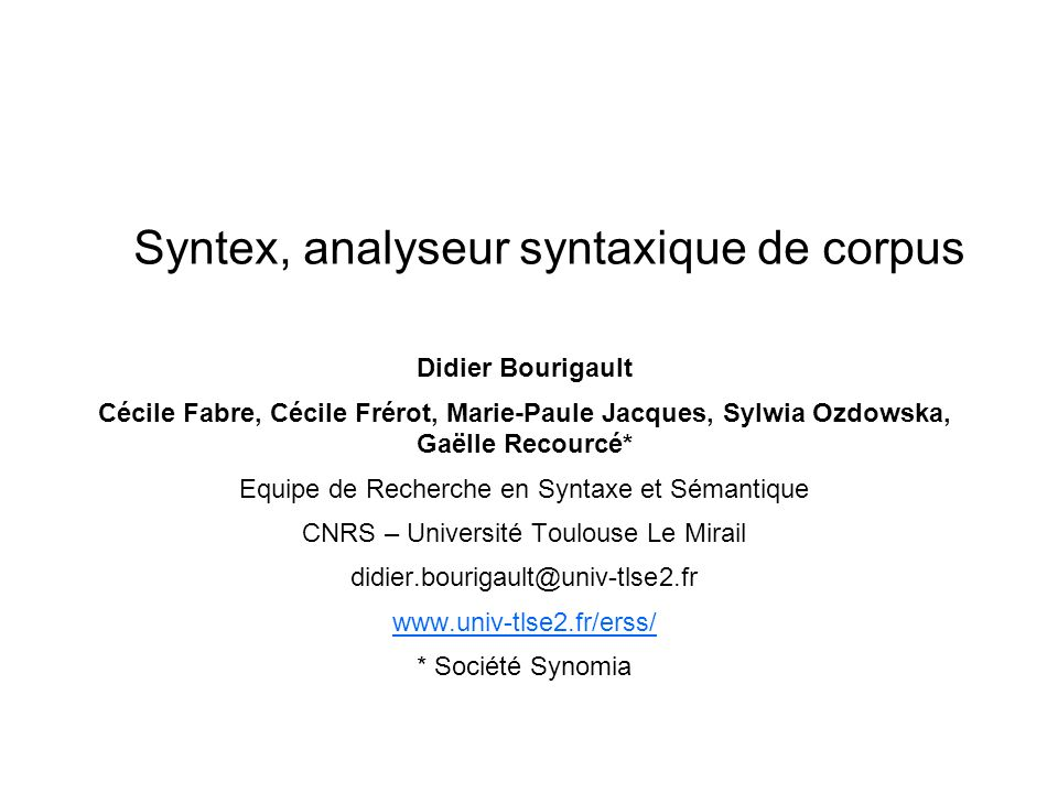 Syntex, analyseur syntaxique de corpus