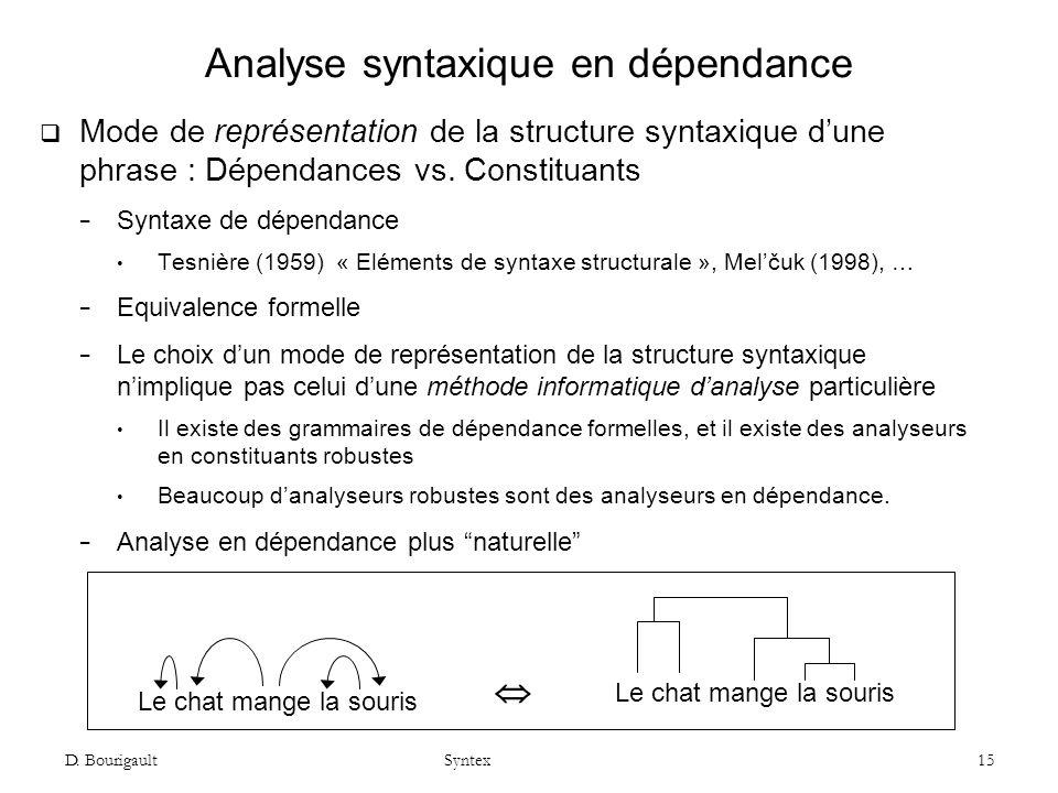 Analyse syntaxique en dépendance