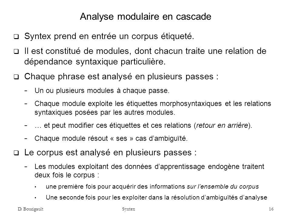 Analyse modulaire en cascade