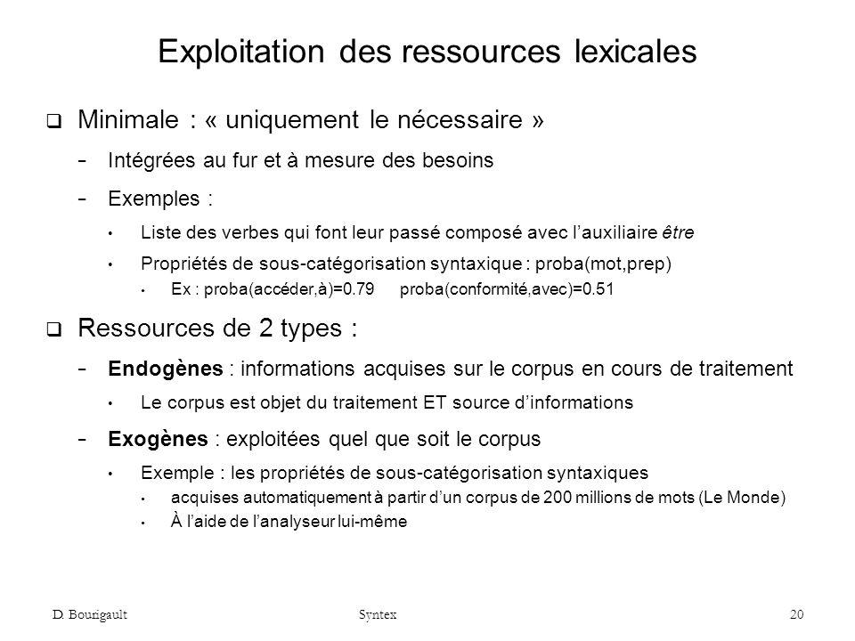 Exploitation des ressources lexicales