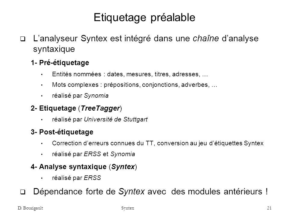 Etiquetage préalable L'analyseur Syntex est intégré dans une chaîne d'analyse syntaxique. 1- Pré-étiquetage.