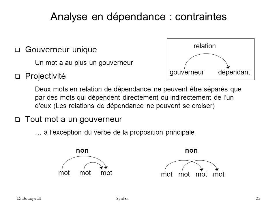 Analyse en dépendance : contraintes