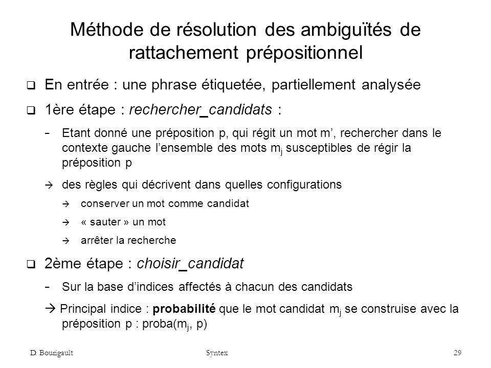 Méthode de résolution des ambiguïtés de rattachement prépositionnel