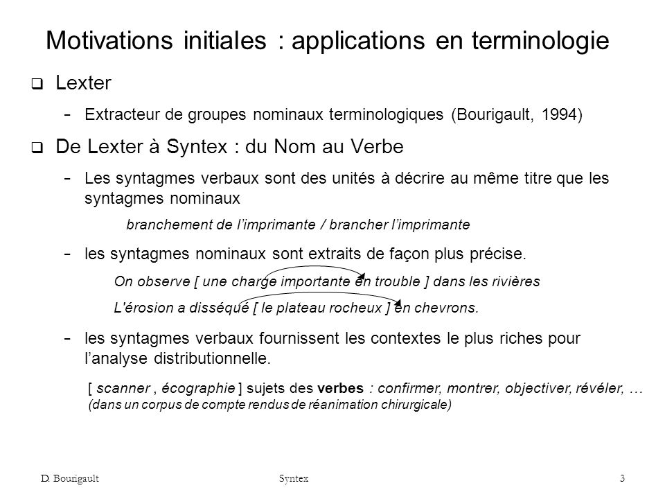 Motivations initiales : applications en terminologie