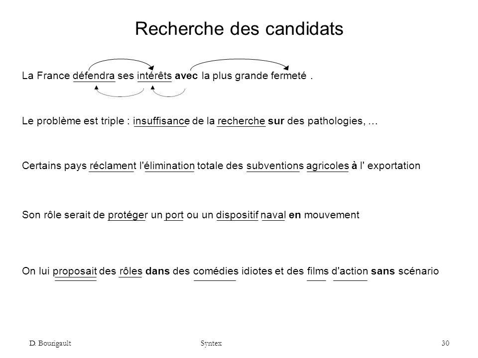 Recherche des candidats
