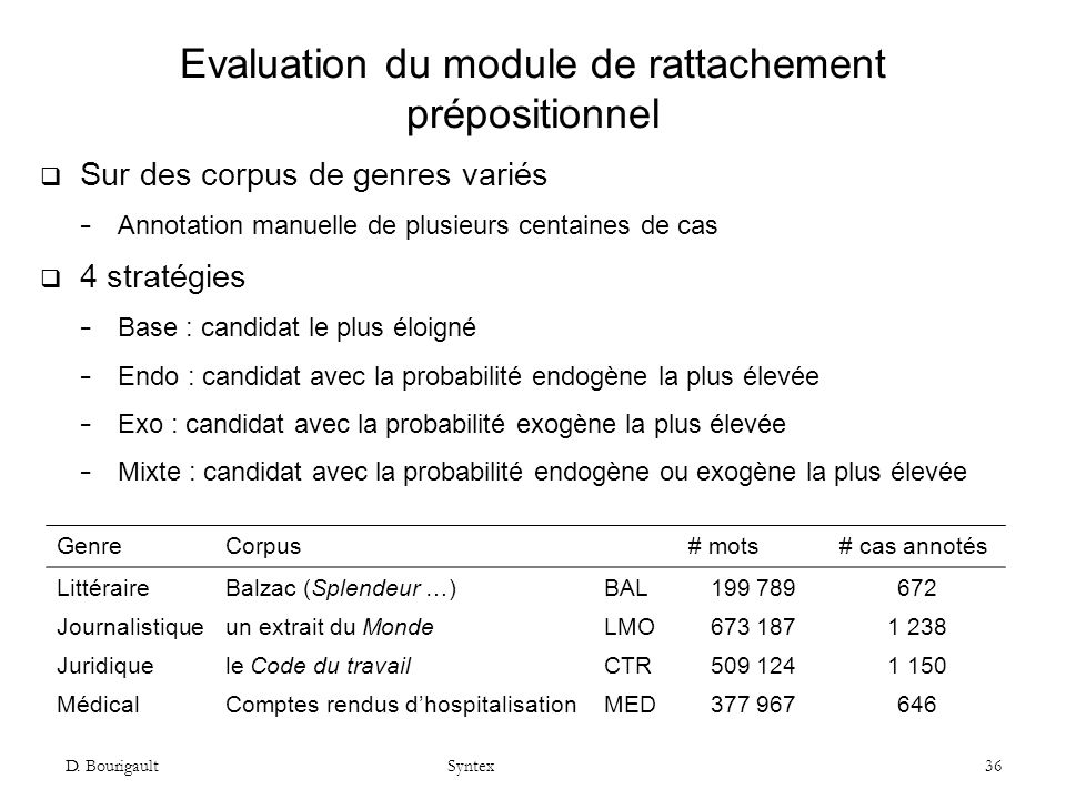 Evaluation du module de rattachement prépositionnel