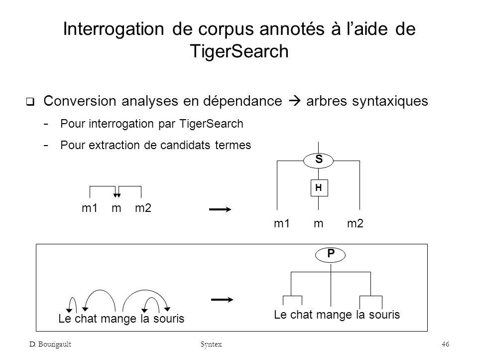 Interrogation de corpus annotés à l'aide de TigerSearch