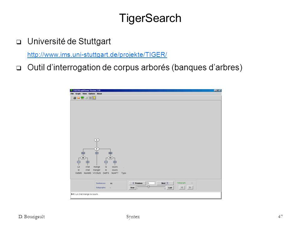 TigerSearch Université de Stuttgart