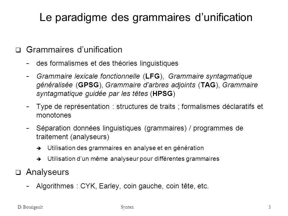 Le paradigme des grammaires d'unification