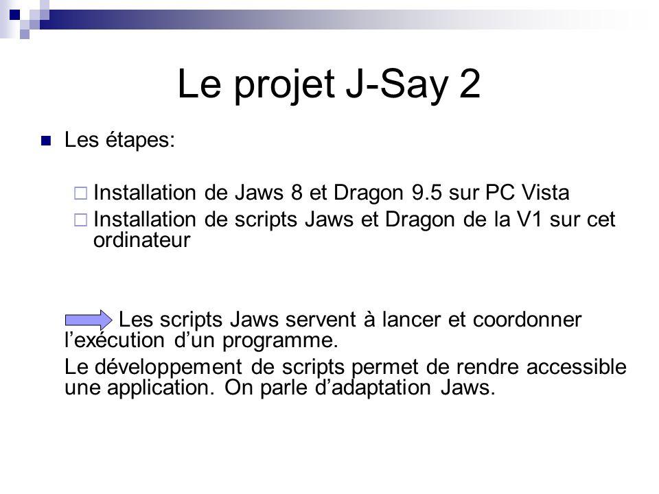 Le projet J-Say 2 Les étapes: