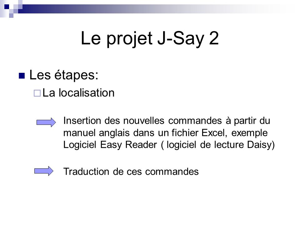 Le projet J-Say 2 Les étapes: La localisation
